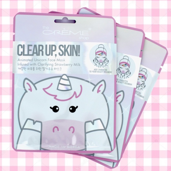 The Creme Shop 3pc Clear Up Animated Unicorn Masks NWT